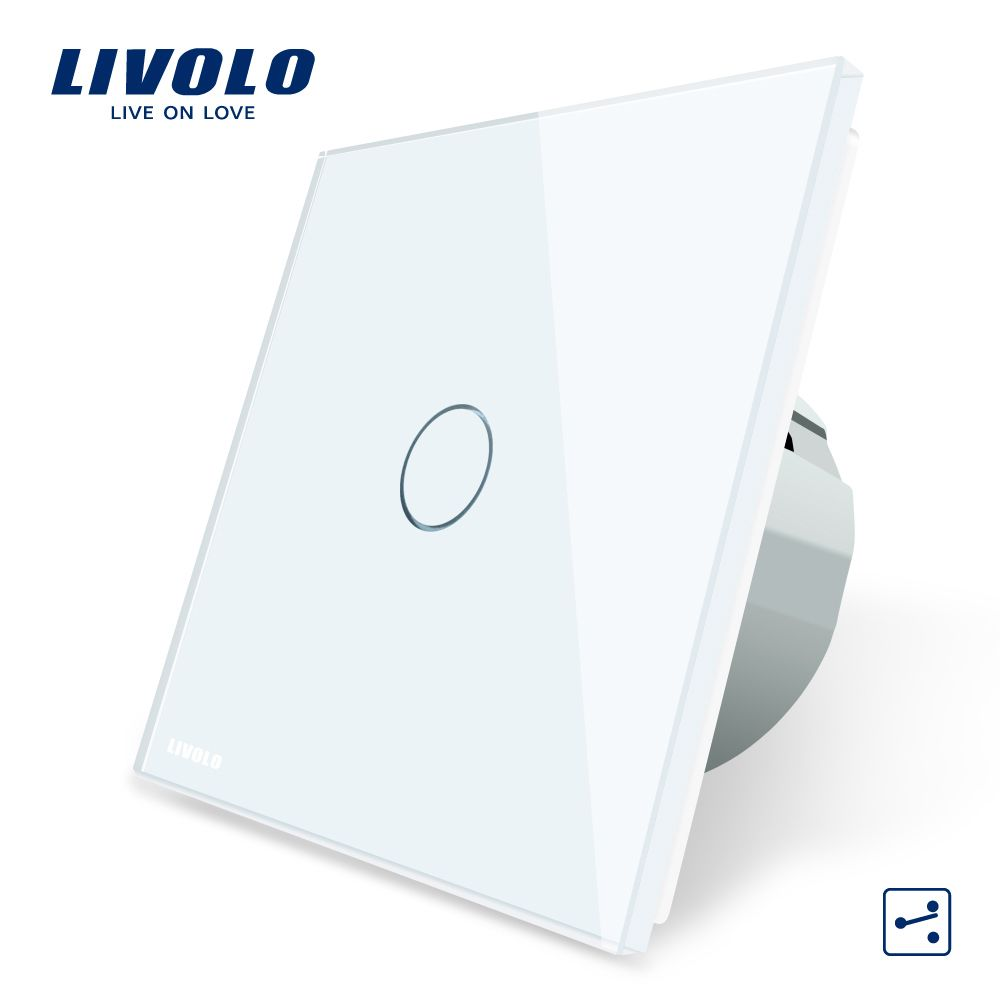 Livolo EU Standard Wall Switch 2 Way Control Touch Screen Switch, Crystal Glass Panel, 220-250V,VL-C701S-1/2/3/5