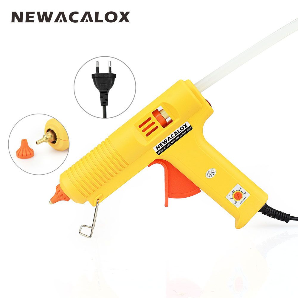 NEWACALOX Industrial <font><b>150W</b></font> EU Plug Hot Melt Glue Gun with 1 pcs 11mm Stick Heat Temperature Tool Guns Thermo Gluegun Repair Tools