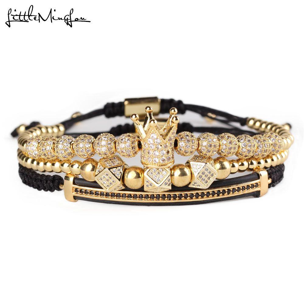 3pcs/set Luxury CZ polygon ball crown Charm copper bead Macrame handmade men Bracelets set bracelets & bangles for Men Jewelry