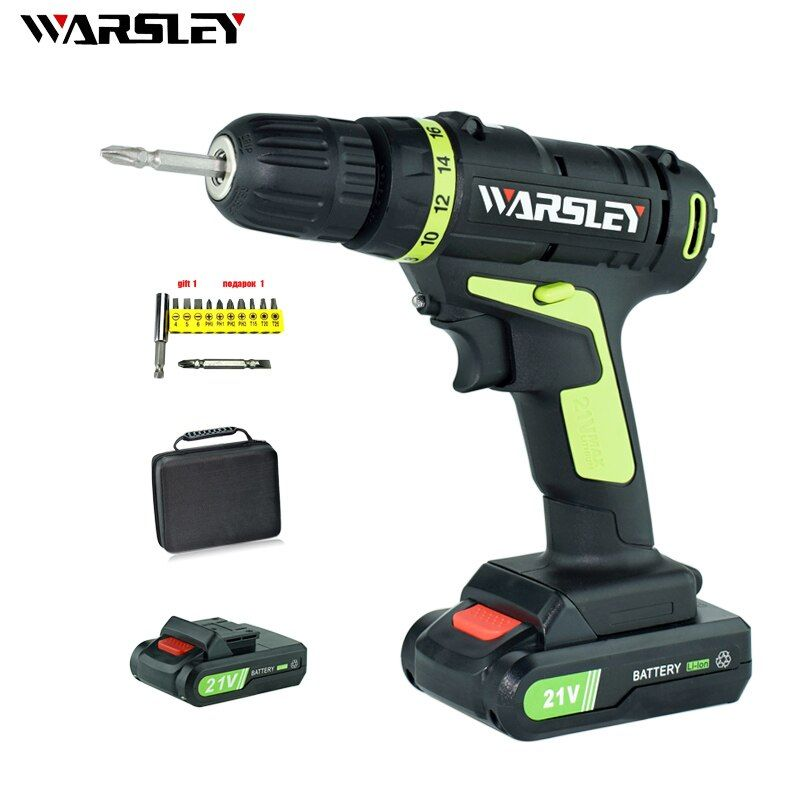 21V Lithium Battery*2 Torque Electric Drill Cordless Electric Screwdriver <font><b>Rechargeable</b></font> Parafusadeira Furadeira Power Tools