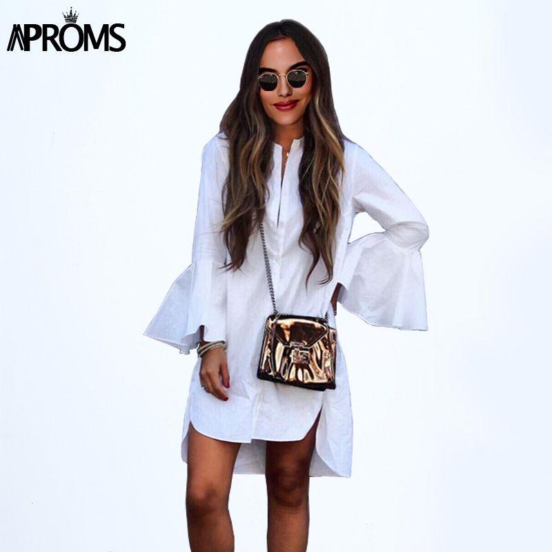 Aproms Flare рукавом Длинная белая блузка Femme Повседневное уличный стиль основные туника рубашка шикарный наряд Топы корректирующие для женская ...