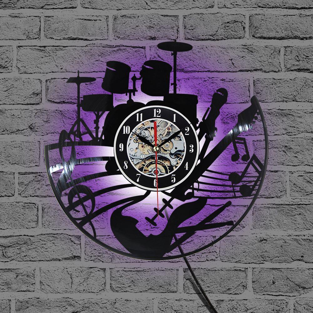 2019 Hot CD vinyle Record horloge murale Design moderne thème Musical décoratif noir Art montre horloge Saat Relogio De Parede