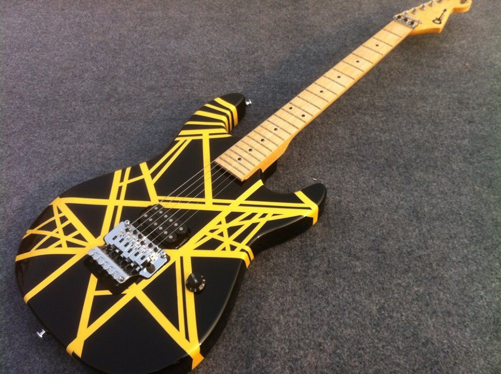 GUTEN KLANG Eddie Van Halen Unterschrift Charvel Gitarre EVH gitarre mit schwarz und gelb streifen