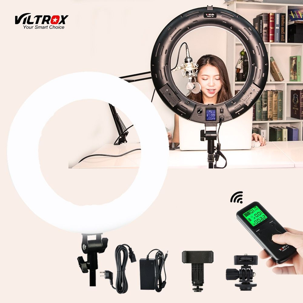 Viltrox VL-600T 45W Video LED Ring Light Photography Supplementary Lighting Annular Lamp Bi-Color$Dimmable For Live Facial Phone