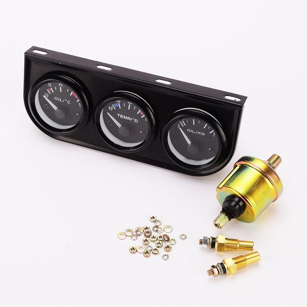 52mm Triple Kit Oil Temp Gauge Water Temp Gauge Temperature Oil Pressure Meter Gauge Sensor 12V Car Auto Tachometer Accessories