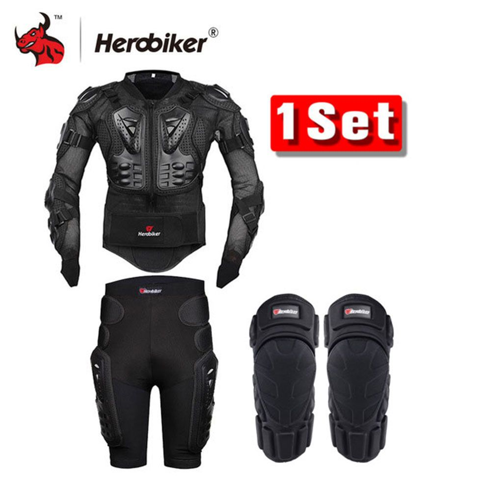 HEROBIKER Motorcycle Body Armor Protective Jacket+Gears Shorts Pants+Protection Motorcycle Knee Pad Black Motorcycle Jacket