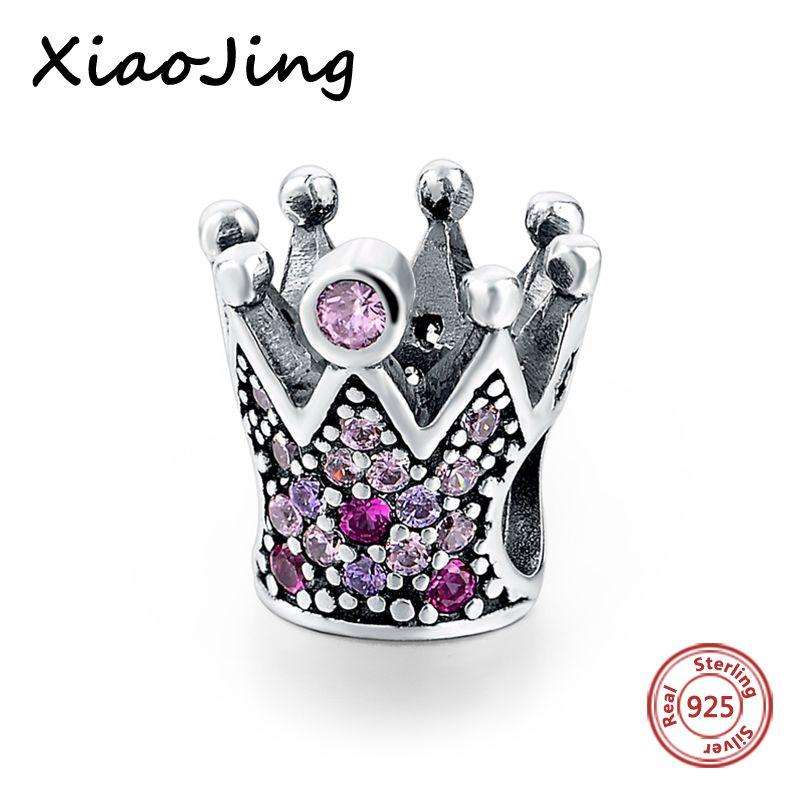 Argent sterling 925 charmes Original rose cz couronne charmes perles Fit authentique Bracelet pandora mode bijoux faisant des femmes cadeau