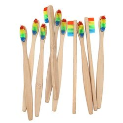 10PCS Environmentally Wood Toothbrush Novelty Bamboo Tooth Brush Bamboo Fibre Wooden Handle Teeth Whitening Rainbow