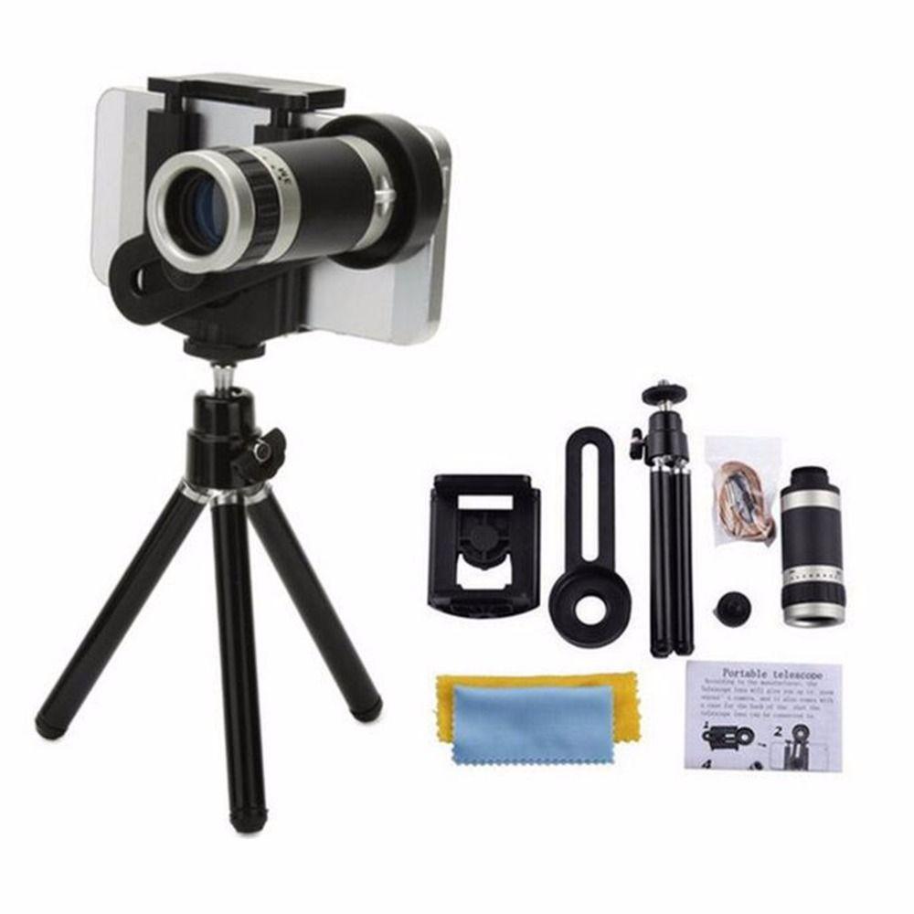8X Zoom Lang fokus Handy Externe Universal Für Smartphones Fest Clip Teleskop-kameraobjektiv Mit Metall stativ