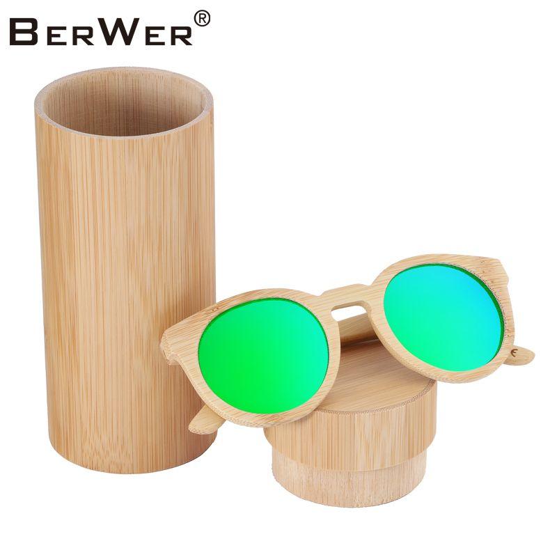 BerWer 100% fait à la main en bambou naturel lunettes de soleil polarisées lunettes de soleil en bois mélangeant les couleurs oculos de sol feminino