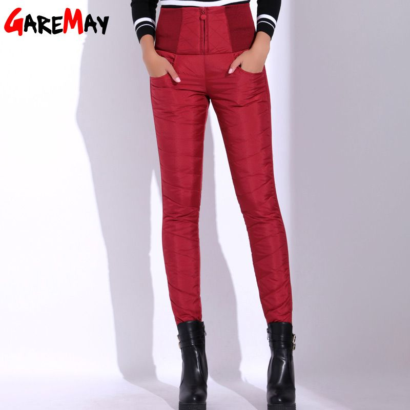 Women Duck Down Pants Winter High Waist Skinny Warm Formal Pants Female Black Elastic Waist Work Trousers GAREMAY 8519