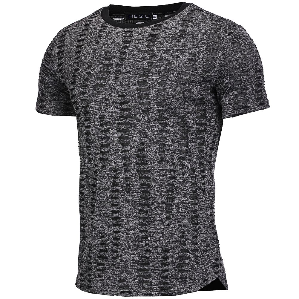 HOT Fashion Summer Ripped Clothes Men Tee Hole Solid T-Shirt Slim Fit O Neck Short Sleeve Muscle Casual Men Tops T Shirts