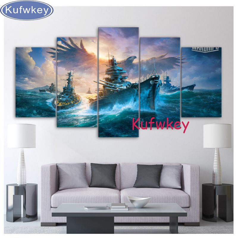 sea eagle Warships Wargaming 5pcs set 5D diamond embroidery,Diy 5d diamond Painting cross stitch,DIY diamond mosaic wall sticker