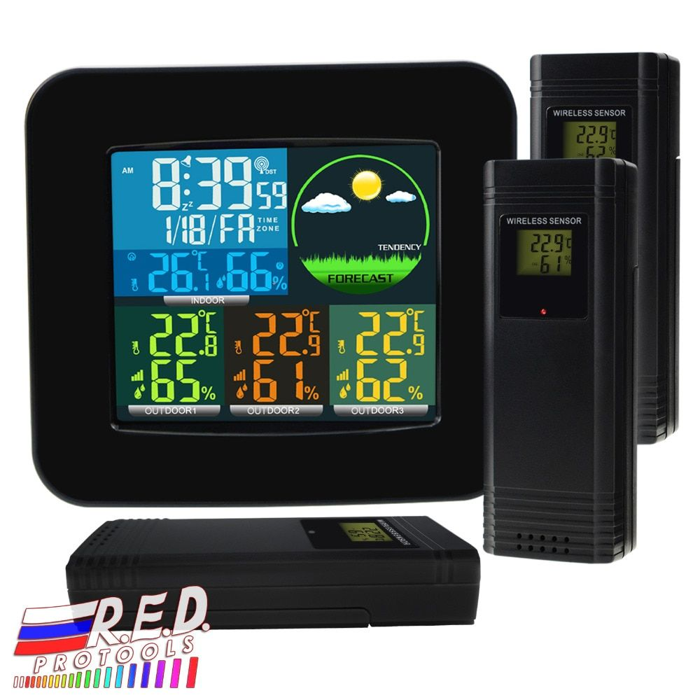 Digital Weather Station RCC DCF with 3 Indoor/ Outdoor Wireless Sensors 6 kinds of Weather Forecast Thermometer and Hygrometer