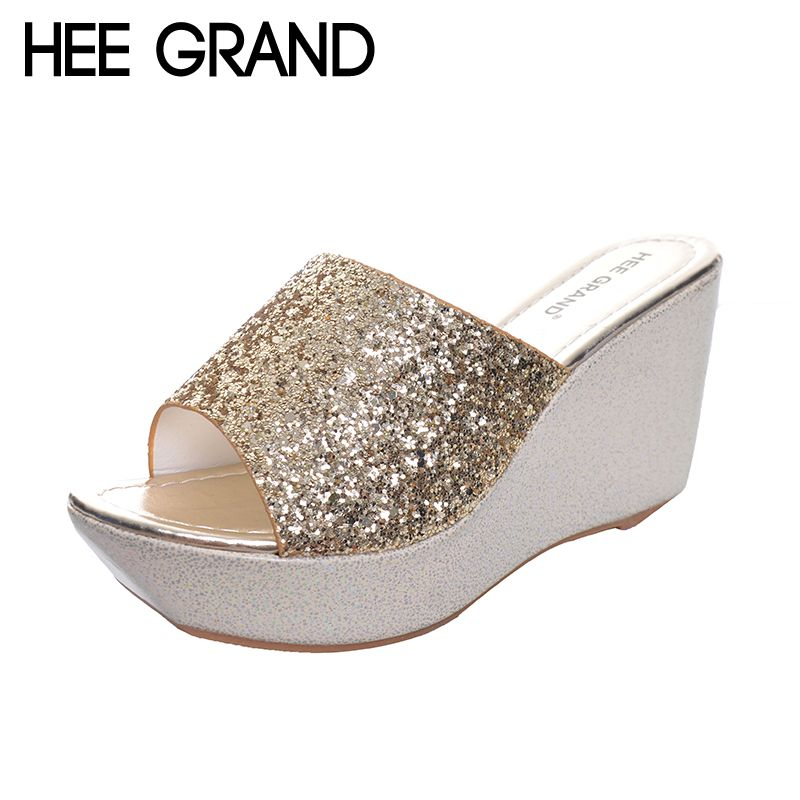 HEE GRAND Femmes Pantoufles Bling Bling Glitter Plate-Forme Wedge Diapositives 2017 Fond Épais Casual Femmes Chaussures XWT513