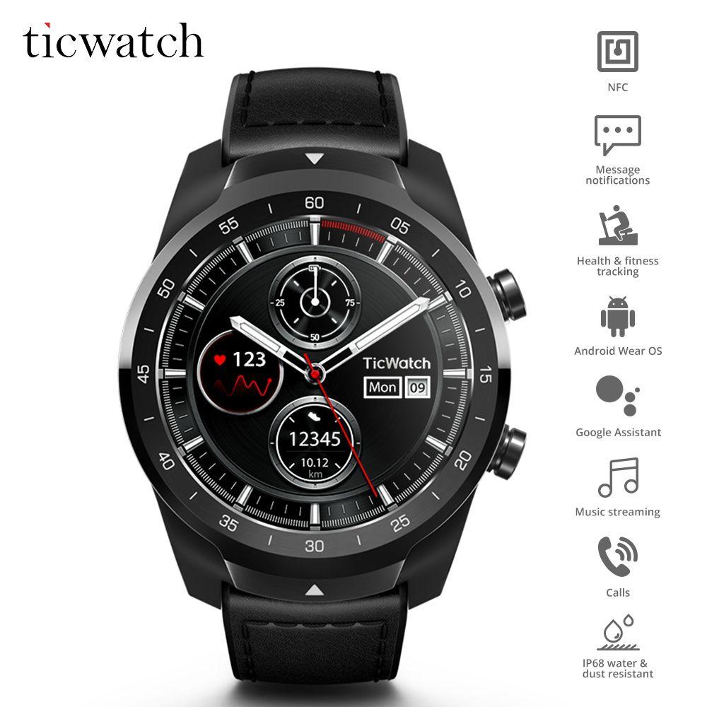 Ticwatch Pro Bluetooth Smart Uhr IP68 Wasserdichte unterstützung NFC Zahlungen/Google Assistent Tragen OS durch Google Sport Smart Uhr