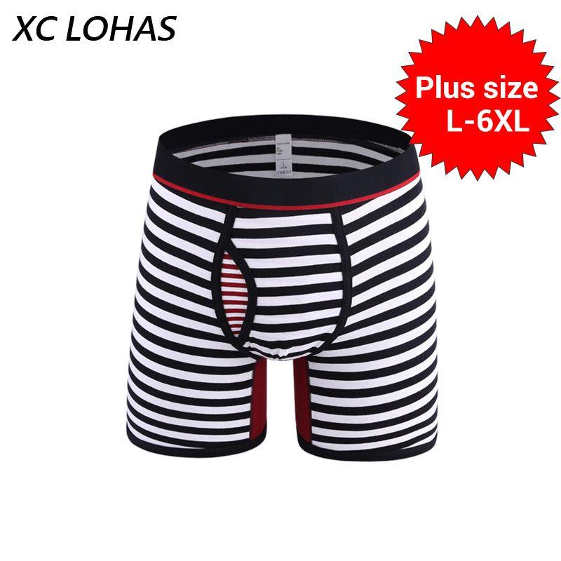 L-6XL плюс Размеры модные Мужское нижнее белье в полоску шорты-боксеры сексуальные длинные ноги Для мужчин Мужские экзотические боксёры брен...