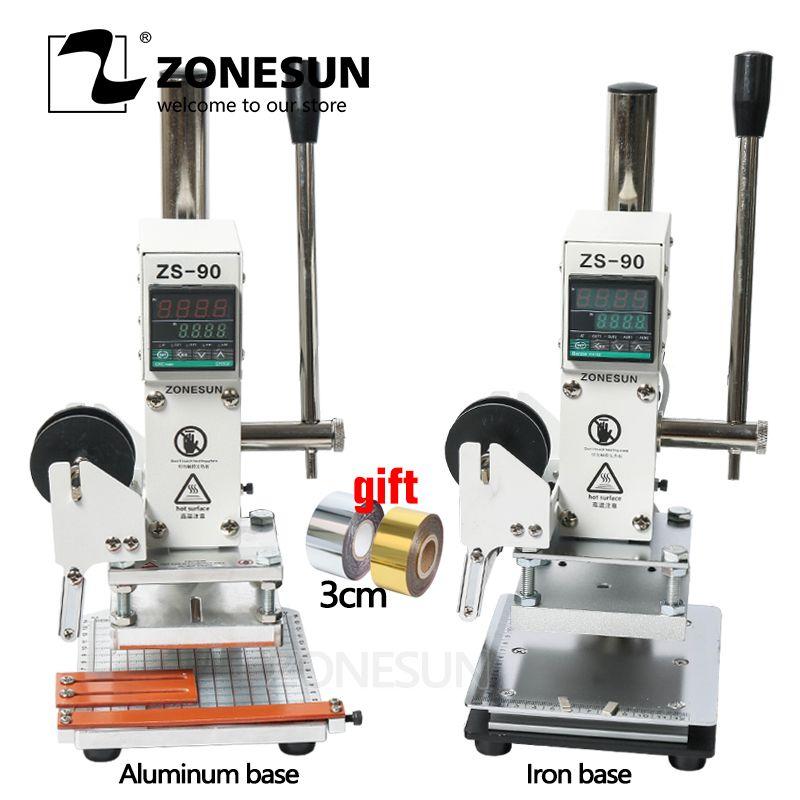 ZONESUN ZS90 Dorure à Chaud Machine Manuel Bronzage Machine pour PVC Carte en cuir et papier gaufrage presse à emboutir