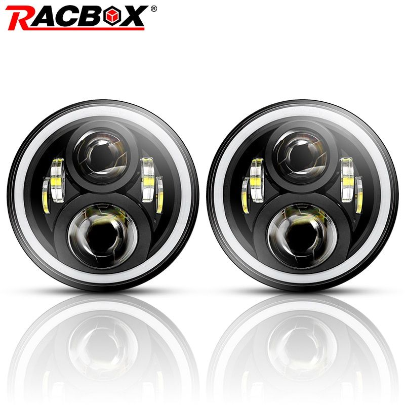 RACBOX 7 inch LED Headlight 80W 12V 24V Hi/Lo White DRL Amber Turn Light For Jeep Wrangler JK Hummer Land Rover LADA Headlamp