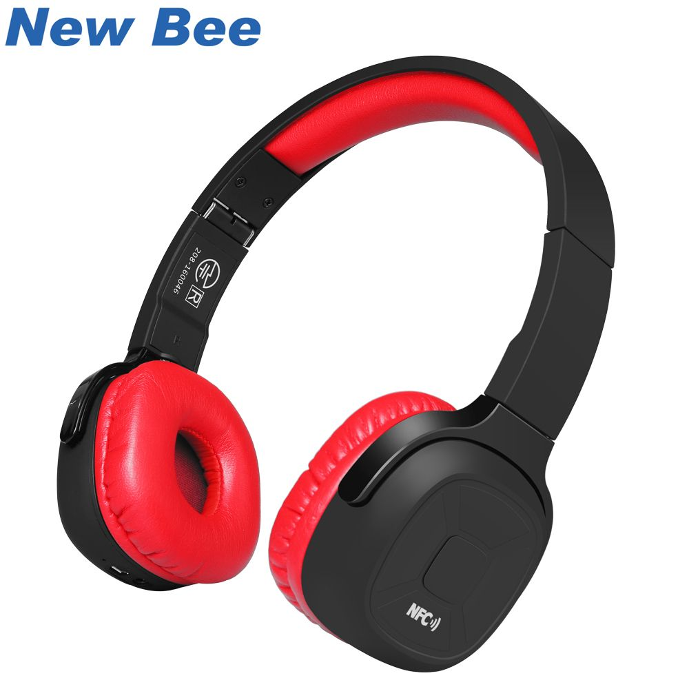 New Bee Wireless Bluetooth <font><b>Headphones</b></font> Hifi Sport Bluetooth Headset with Stand Case Pedometer App Mic NFC for Computer Iphone