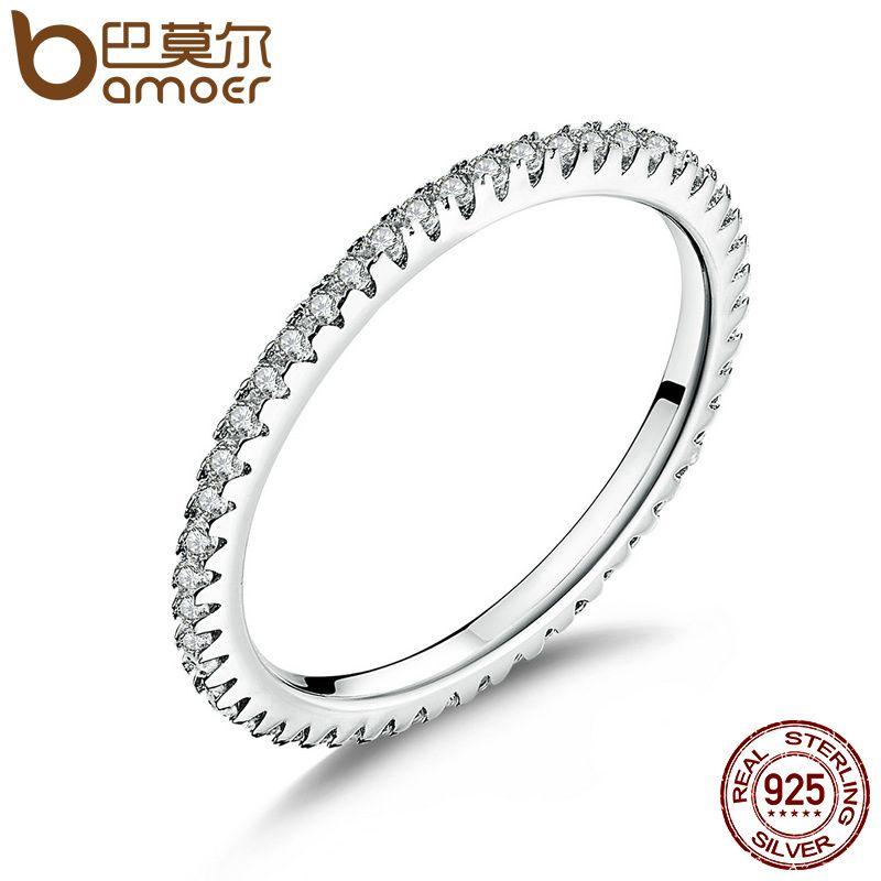 BAMOER Klassische 925 Sterling Silber Hohe Qualität Kreis Klar CZ Geometrische Stapelbar Ringe für Frauen Hochzeit Schmuck Geschenk SCR066