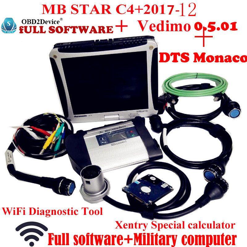Top Qualität Mb-Stern C4 2017-12 Vediamo + DTS Arbeit für Mercedes Stern Diagnose mit Panasonic CF19 Notebook arbeit für Car & truck