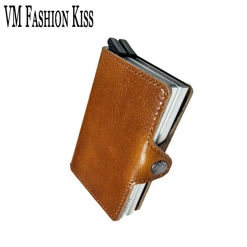 VM Мода поцелуй предотвращает RFID утечки информации натуральная кожа мини-Сейф Многофункциональный Алюминий ящик антимагнитных Кредитная к...