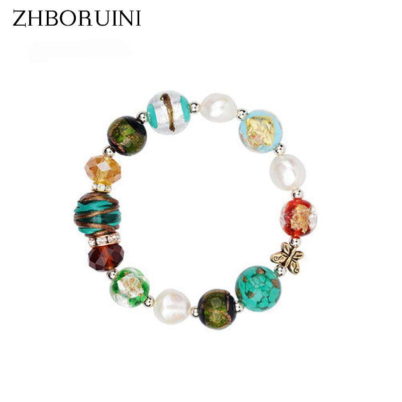 ZHBORUINI Charme Bracelet Naturel D'eau Douce Perle En Verre Baroque Bracelet 925 En Argent Sterling Perle Bijoux Chamilia Perles Cadeau