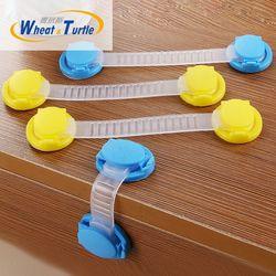 10 unids/lote bebé niños seguridad plástico proteger cerraduras del gabinete del cajón largo estilo de la cerradura del gabinete del refrigerador
