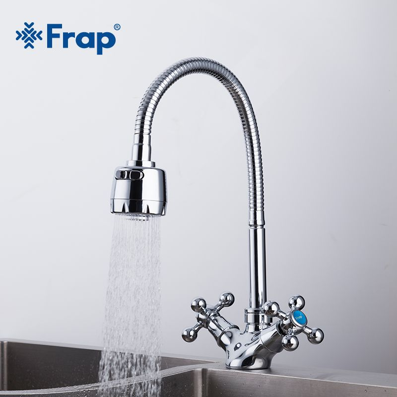 FRAP Silver Double handle Kitchen sink faucet Mixer Cold and Hot Kitchen Tap mixer Single Hole Water Tap torneira cozinha F4319