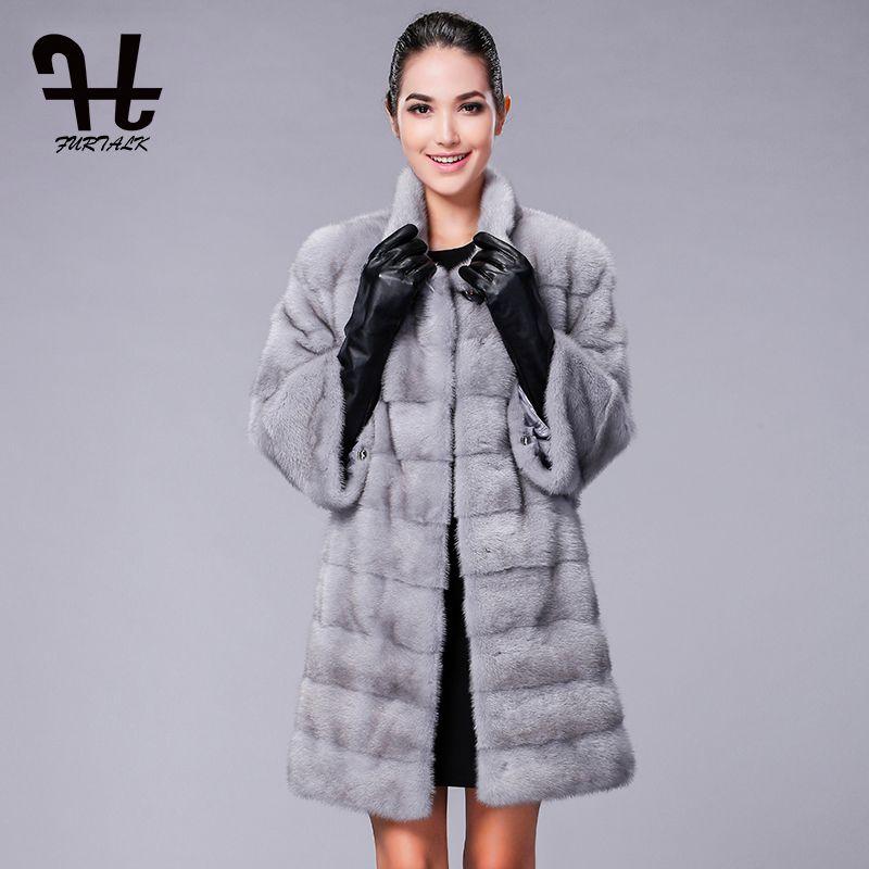 FURTALK Hohe qualität Echte Natürliche Nerz Mantel für Frauen Winter Lange Nerz Pelzmantel Pelz Jacke