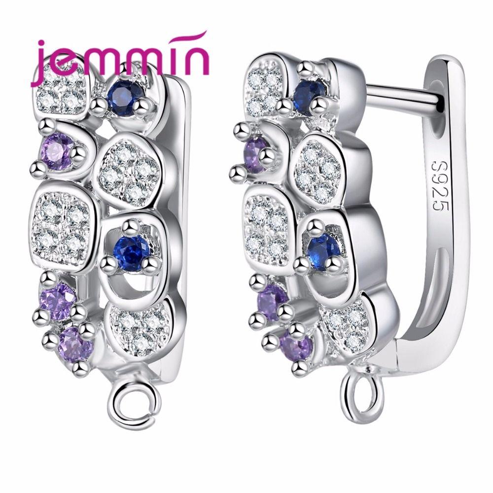 Jemmin S925 Sterling Ruban Boucles D'oreilles Inlay Coloré Micro Cristal Arrangement de fourche Hoop Bijoux Conçu Pour Wommen De Mariage