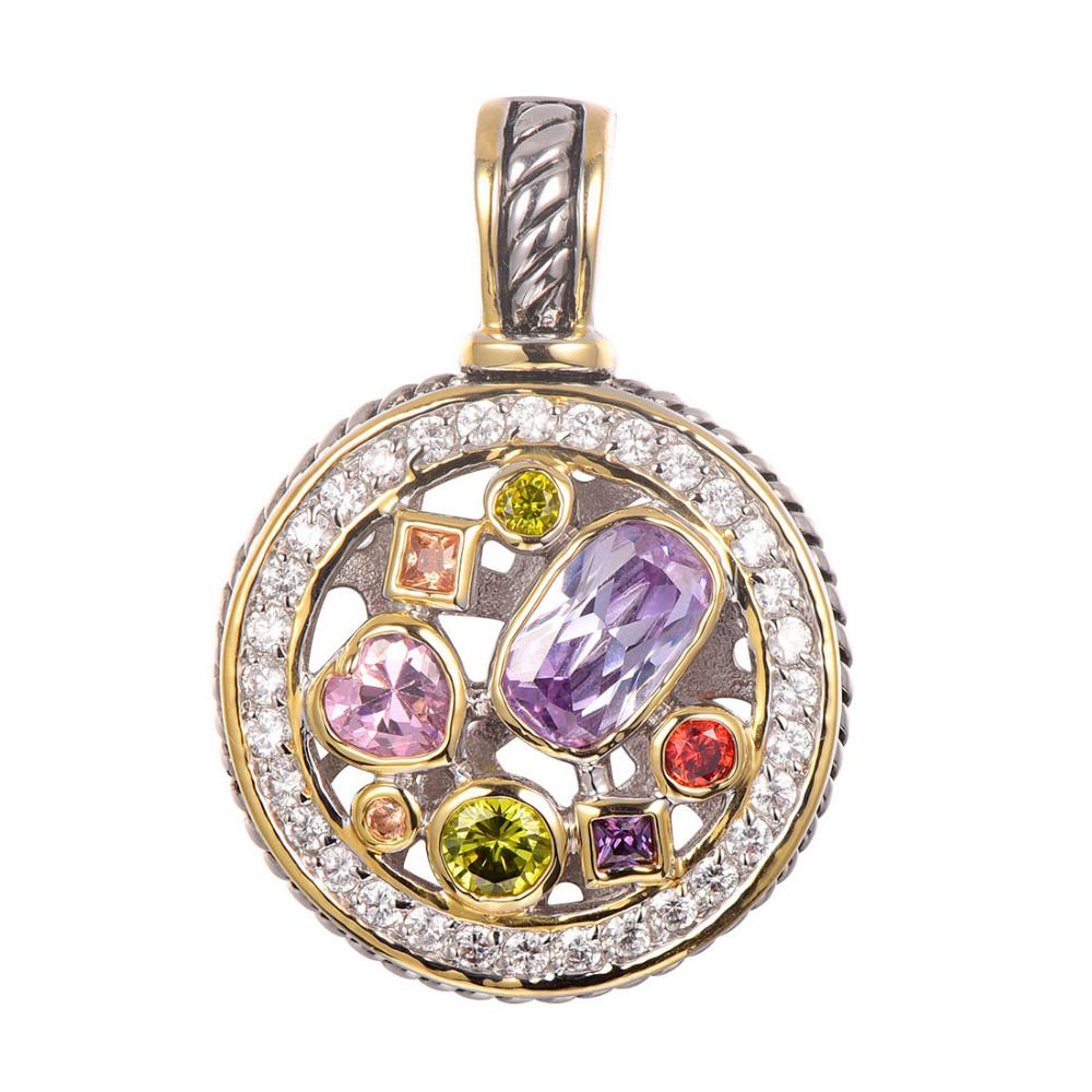 Purple Crystal Zircon Morganite Peridot Pink Crystal ZirconRed Crystal Zircon <font><b>Pendant</b></font> 925 Sterling Silver Jewelry <font><b>Pendant</b></font> TE647