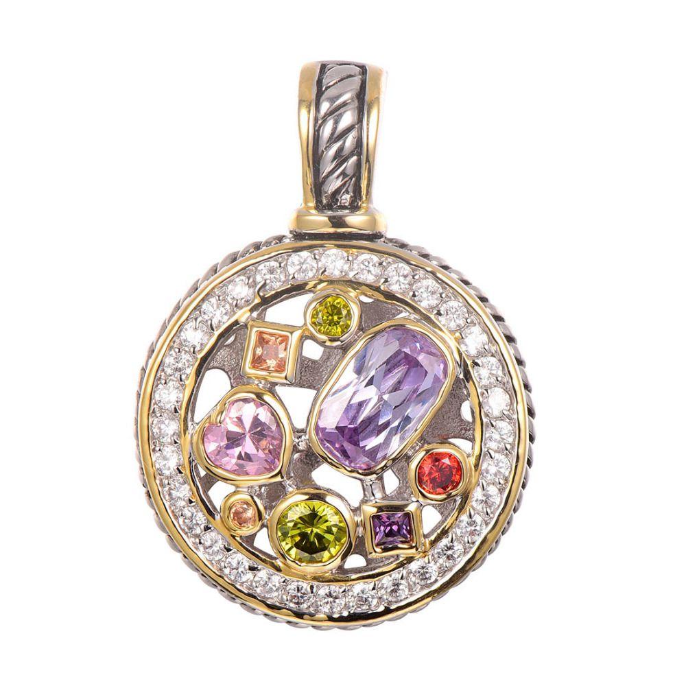 Purple Crystal Zircon Morganite Peridot Pink Crystal ZirconRed Crystal Zircon Pendant 925 Sterling Silver Jewelry Pendant TE647