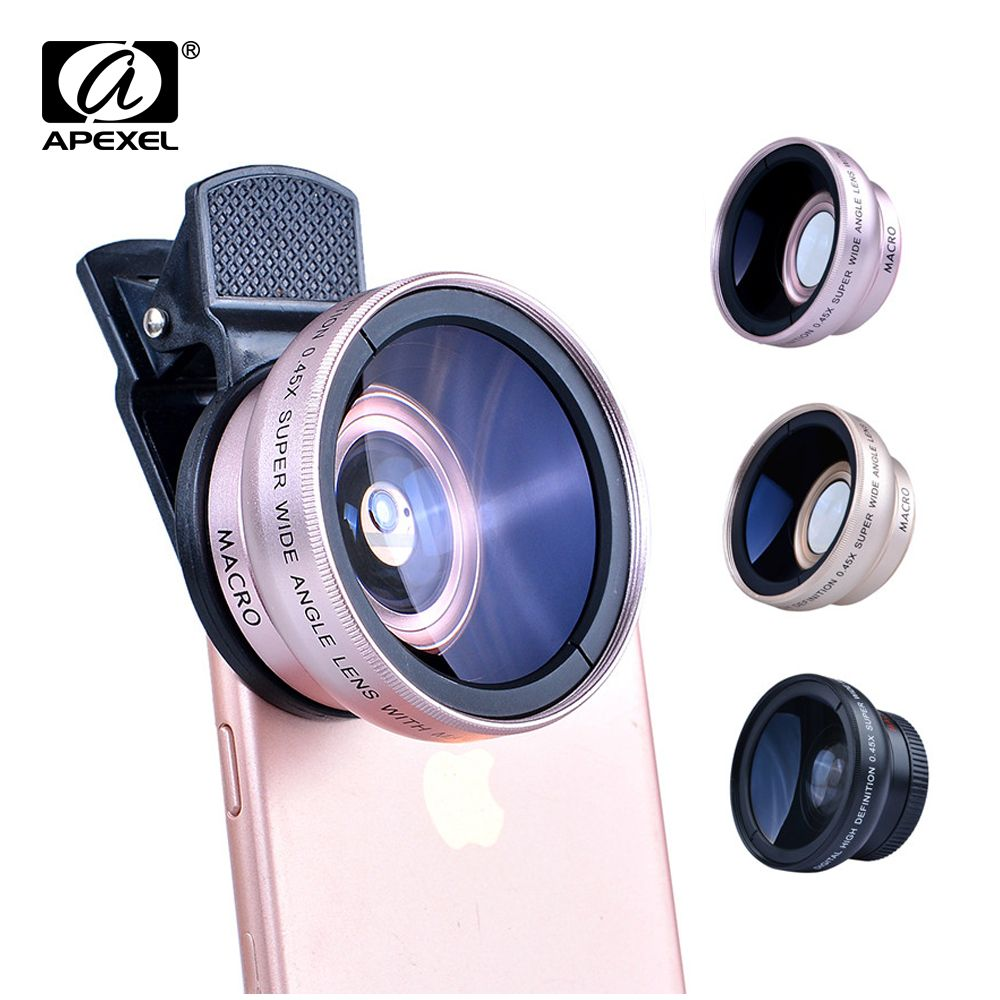 APEXEL 2in1 Lentille 0.45X Grand Angle + 12.5X Macro Objectif Professionnel HD Téléphone Camera Lens Pour iPhone 8 7 6 s Plus Xiaomi Samsung LG