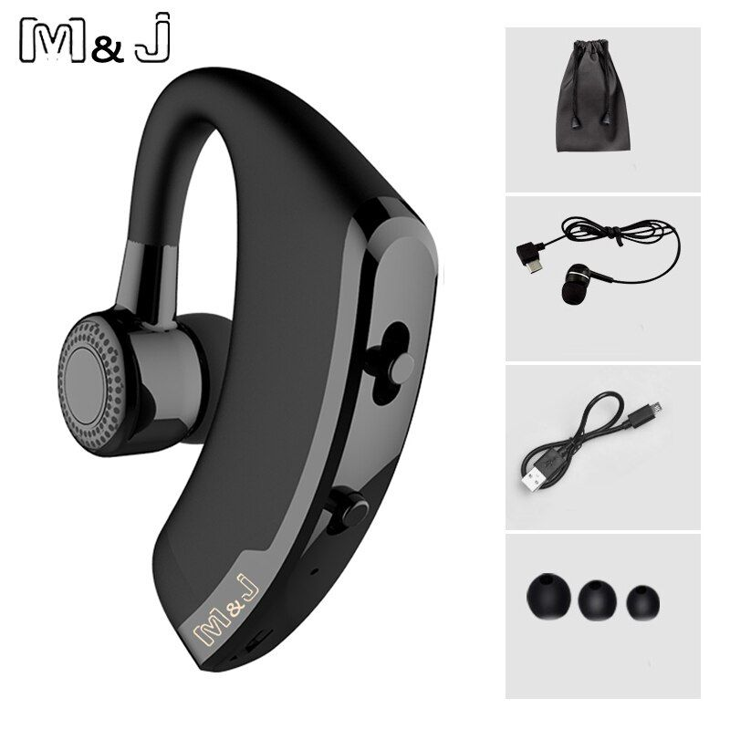 M&J V9 Handsfree Business Bluetooth Headphone With Mic Voice Control Wireless Bluetooth <font><b>Headset</b></font> For Drive Noise Cancelling