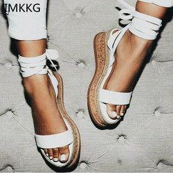 IMKKG verano blanco alpargatas de cuña Sandalias Mujer Open Toe Gladiator Sandalias Mujer Casual Lace Up mujeres plataforma sandalias m364