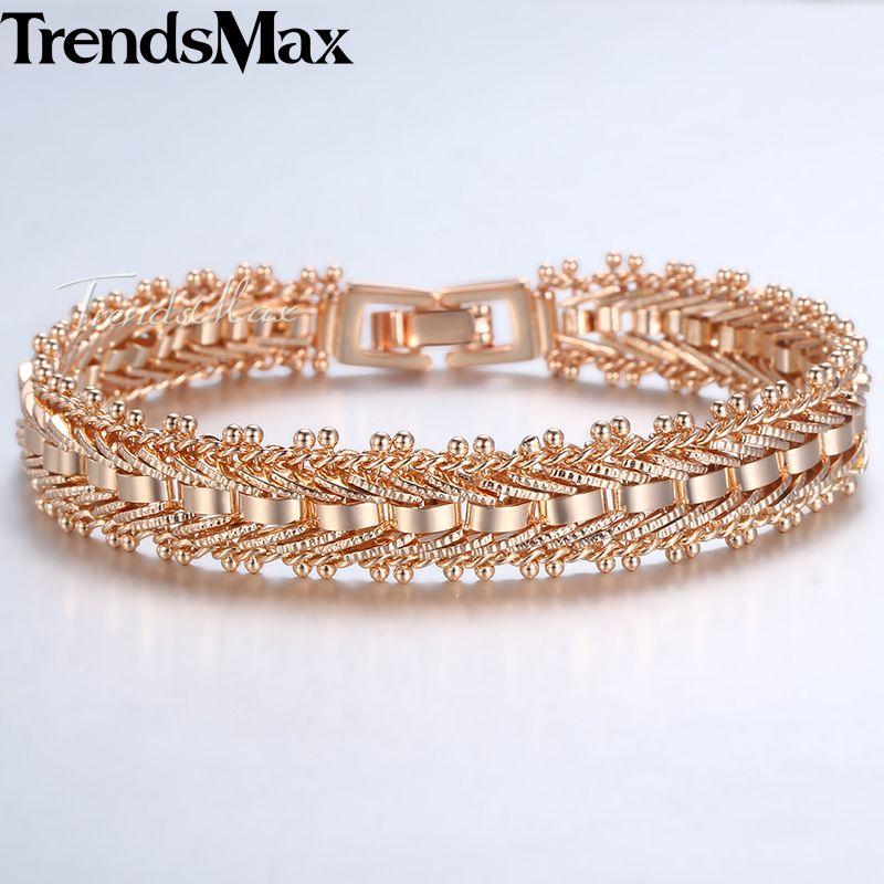 Trendsmax 585 Gold Bracelets Bangles For Women Rose Gold Color Wedding Bracelet Women's Accessories 11mm 19cm KGB430