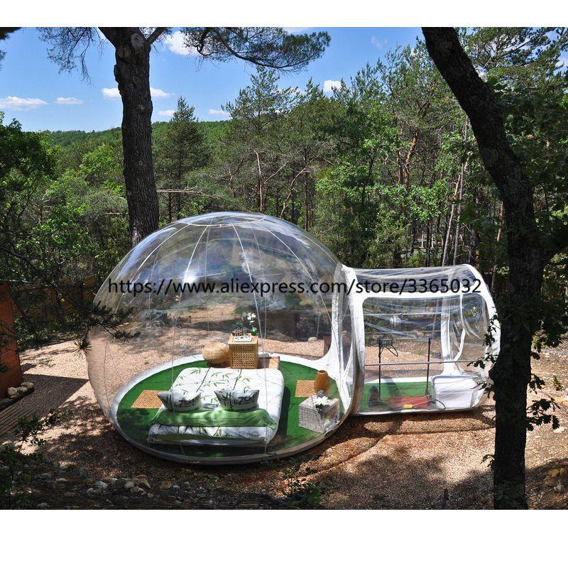 Beste qualität 4 mt dome außen transparente aufblasbare camping blase zelt mit rahmen tunnel für verkauf