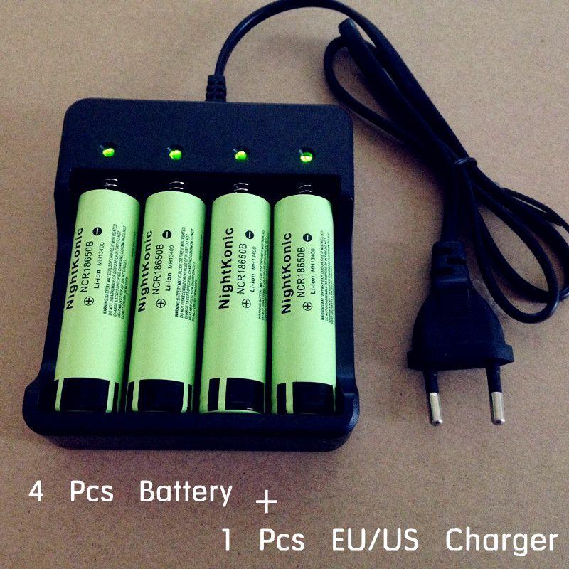 Nightkonic 4 PCS/LOT 18650 battery 3.7V Li-ion Rechargeable Battery Flat top 18650B + 1 PCS 2 / 4 slot EU/US <font><b>Charger</b></font>