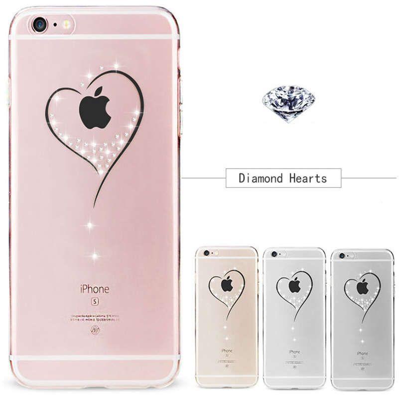 De luxe transparent glitter Strass téléphone Cas Pour iphone 8 7 6 6 S Plus X 10 5 5S SE Cristal Diamant souple en silicone de Couverture arrière