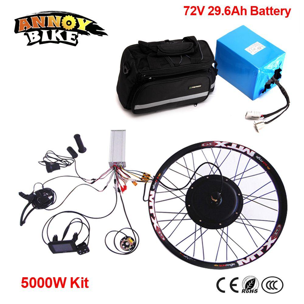 72 v 29.6Ah Panasonic Batterie Elektrische DIY Motorrad DIY 24 26 72 v 5kw Rad Motor Kit 72 v 5000 watt Elektrische Bike Conversion Kit