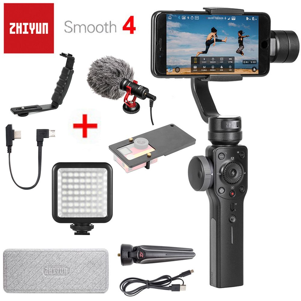 <font><b>Zhiyun</b></font> Smooth 4 3-Axis Handheld Smartphone Gimbal Stabilizer for iPhone X 8Plus 8 7Plus 7 6S Samsung S9 S8 S7 & Action Camera