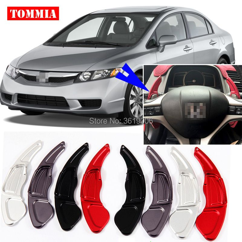 tommia 2pcs Steering Wheel Aluminum Shift Paddle Shifter Extension For Honda Civic 2009-2011 Car-styling