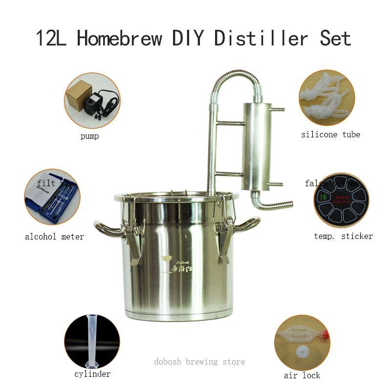 12L Moonshine Homebrew Brennerei Bier Whisky Destillieren Alkohol Wein Hefe Distillator für Hause Brauen Verwendet Wein Maker