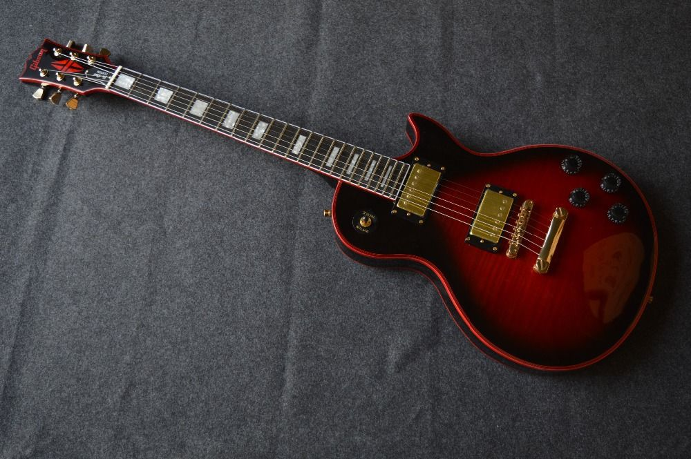 New stores China 's OEM firehawk shop electric guitar free shipping The red bag edge Tiger stripes in the stomach