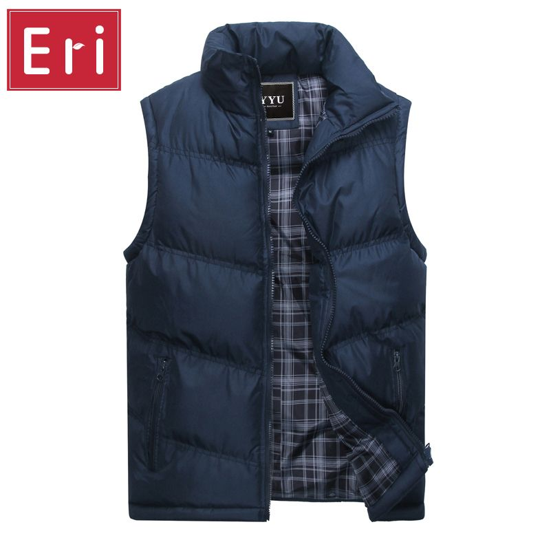 New Brand Mens Jacket Sleeveless Vest Winter Fashion Casual Coats Male Cotton-Padded Men's Vest Men Thicken Waistcoat 3XL X378