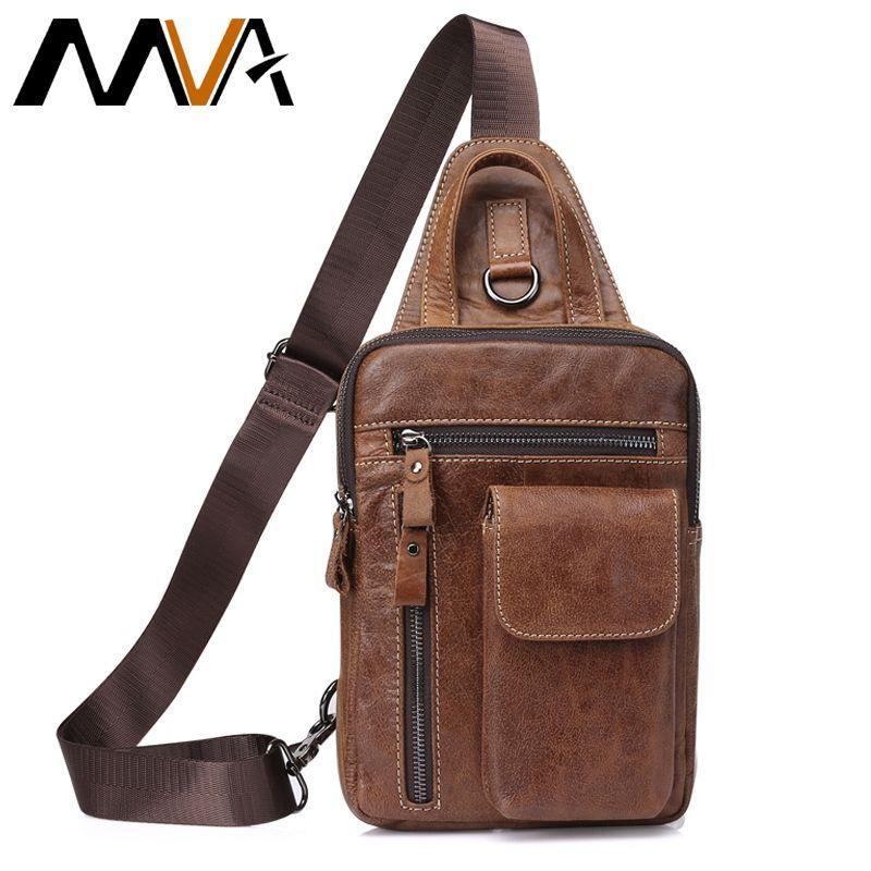 MVA Messenger Bag Men Chest Pack Genuine Leather Crossbody Bags ipad flap Travel Men's Shoulder Bags Leather Men Chest Bag 8871