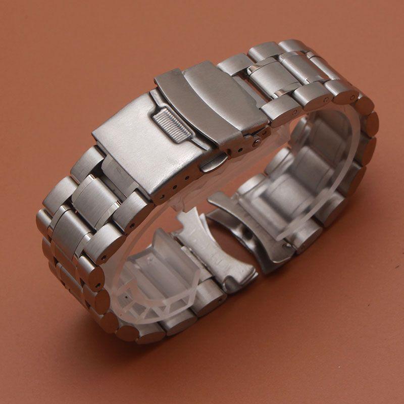 18mm 20mm 22mm 24mm Solide En Acier Inoxydable Lien Bracelet Montre-Bracelet Bande Hommes Montres Bandes Strap montre Remplacement extrémités recourbées