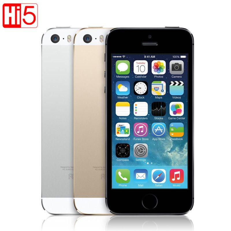 Apple iphone 5s Unlocked Mobile Phone IOS Touch ID 4.0'' 16GB / 32GB ROM WCDMA WiFi GPS 8MP Fingerprint free shipping